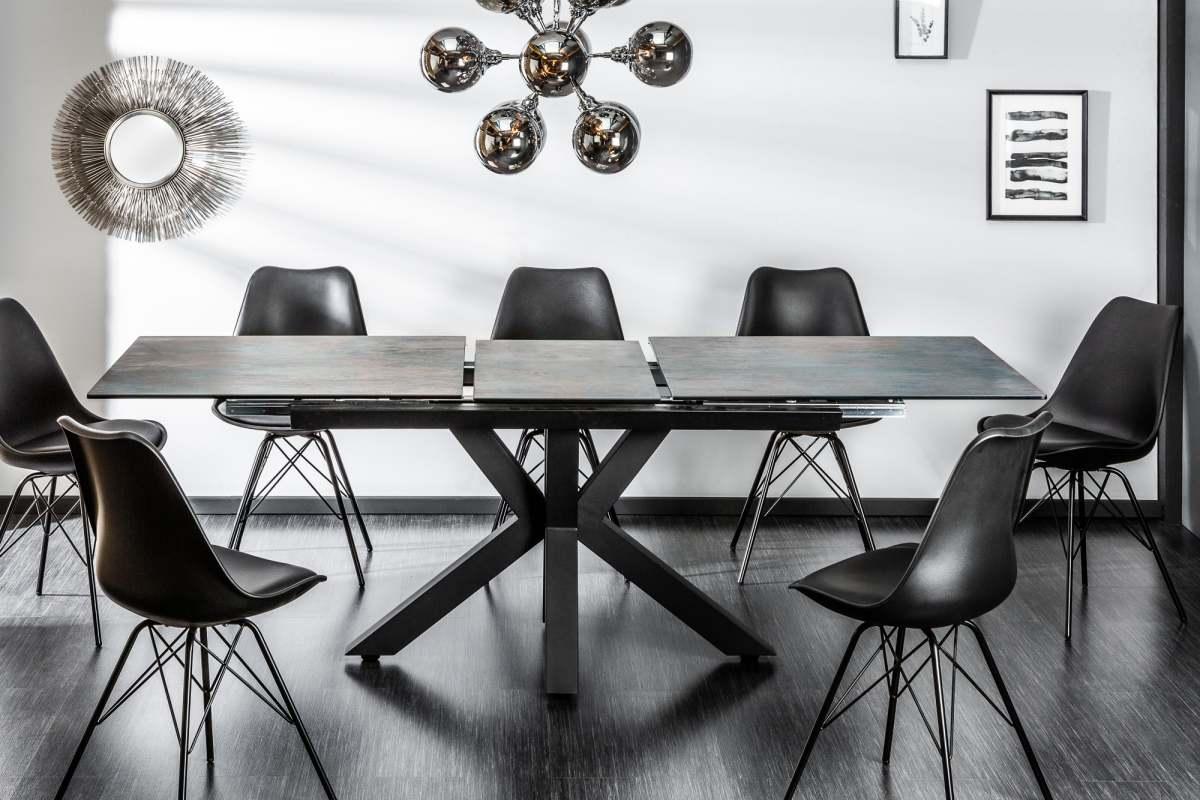 Dizajnový jedálenský stôl Zariah, 180-225 cm, láva