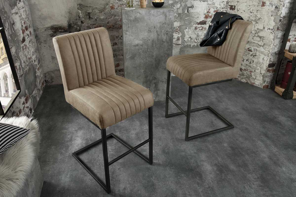 Dizajnová barová stolička Boss, sivohnedá taupe