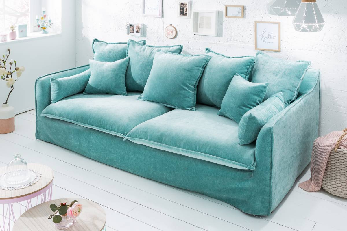Dizajnová sedačka Eden, modrý zamat