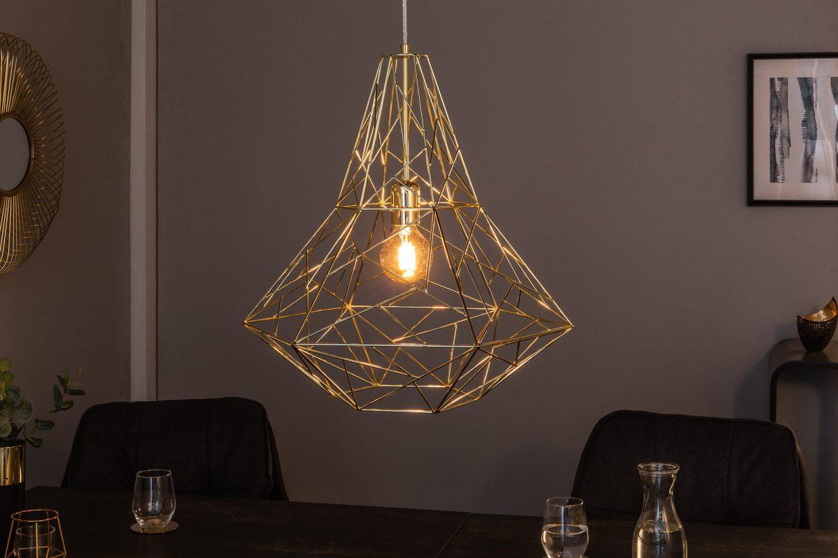 Dizajnová závesná lampa Bruce L zlatá