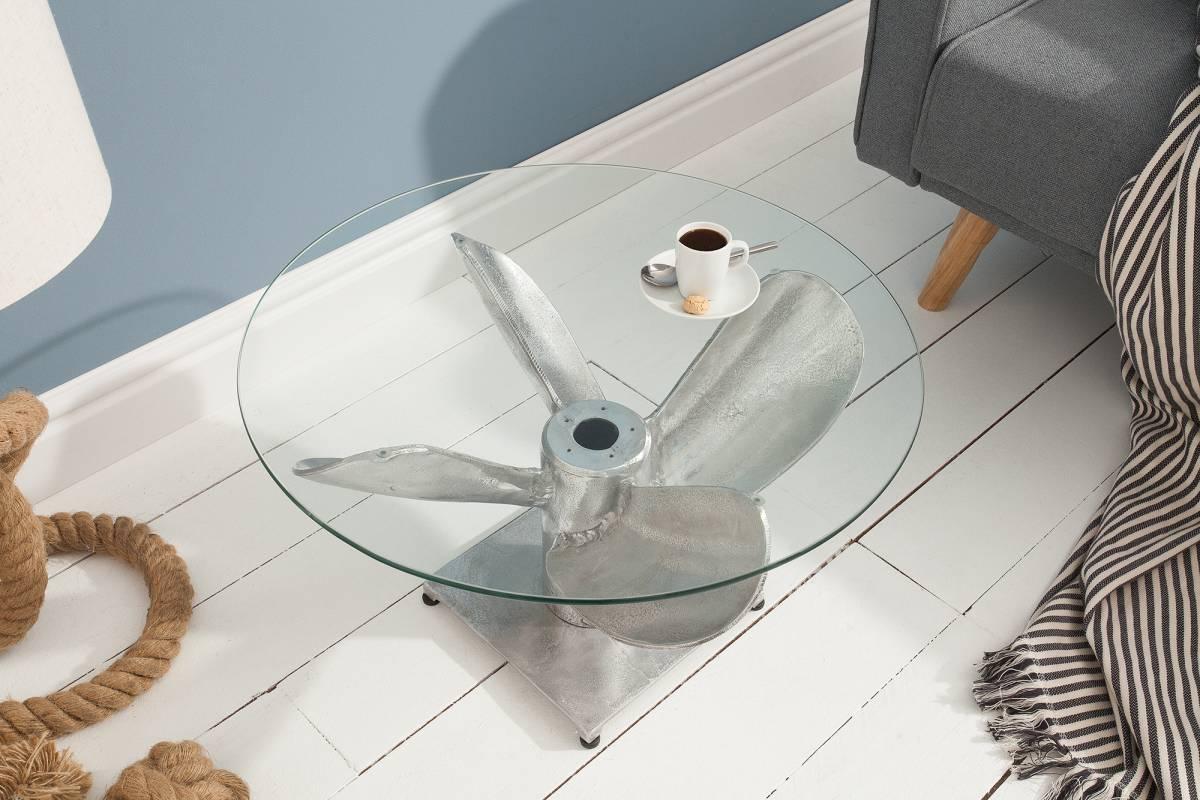Dizajnový konferenčný stôl Propeller, 60 cm, strieborný