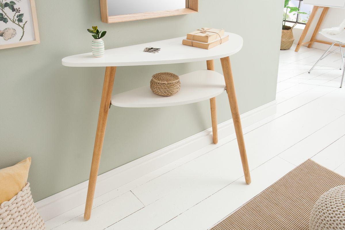 Dizajnová konzola Sweden 95 cm biela, dub