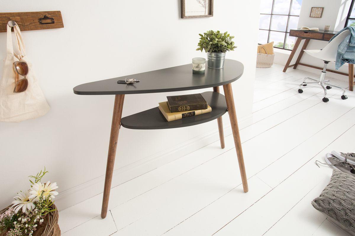 Dizajnová konzola Sweden  95 cm sivá, kávová