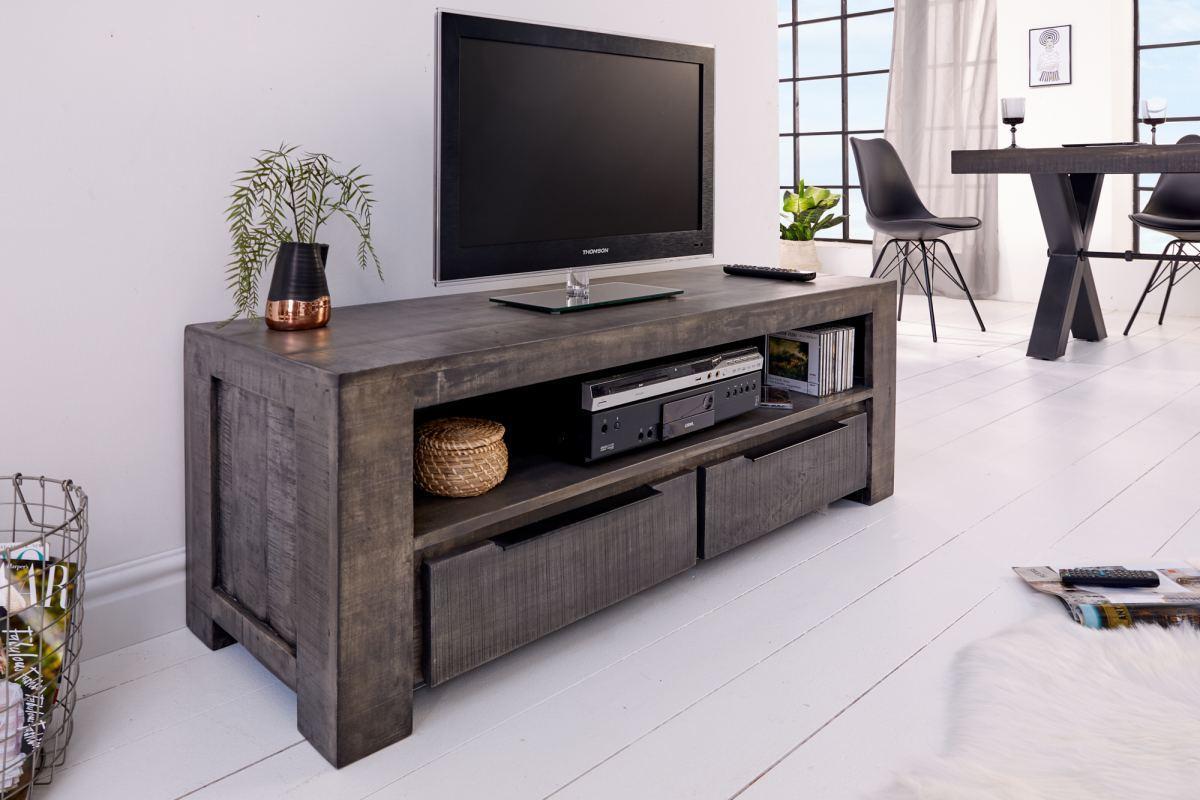LuxD Dizajnový TV stolík Thunder 130 cm, sivé mango