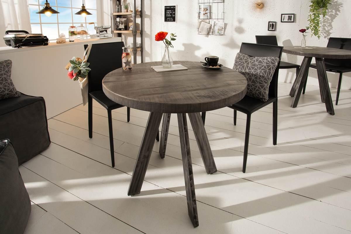 LuxD Okrúhly jedálenský stôl Thunder, 80 cm, sivé mango
