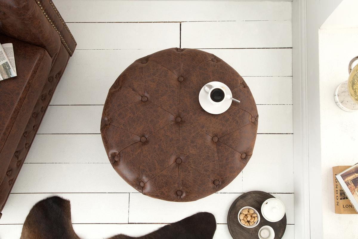 Dizajnová taburetka Iris, 60 cm, vintage hnedá