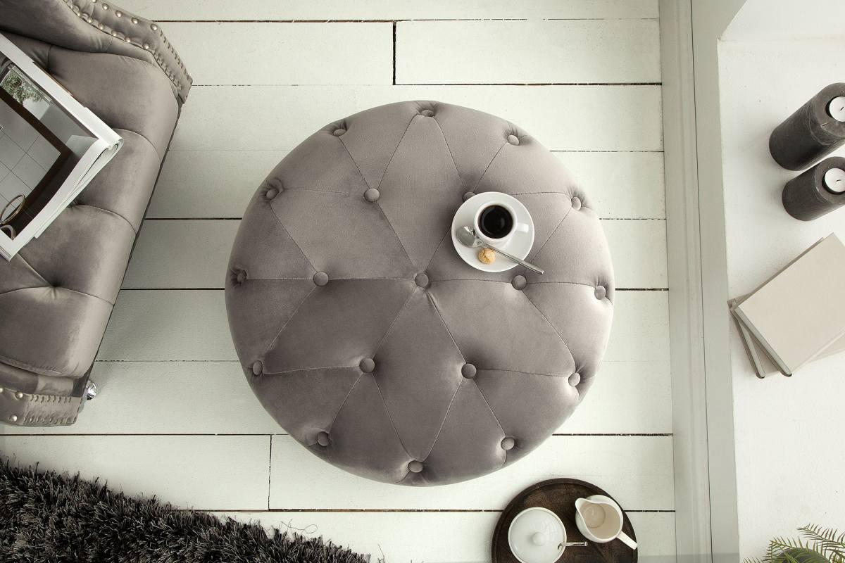 Dizajnová taburetka Iris, 60 cm, strieborno-sivá