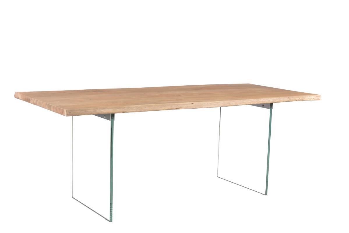 Dizajnový jedálenský stôl Massive, 200 cm, akácia / sklo