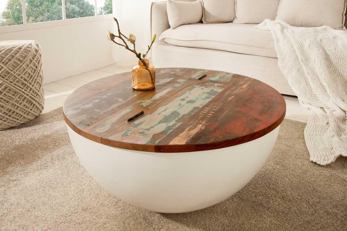 LuxD Okrúhly konferenčný stolík Jacktar, 70 cm, biely