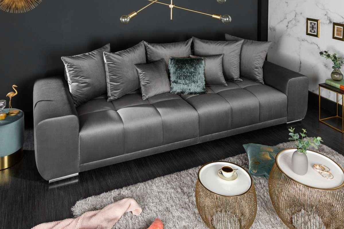 Dizajnová sedačka Cason, 280 cm, striebornosivá