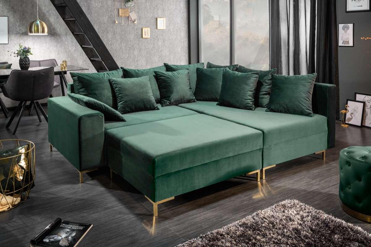 Rohová sedačka Giuliana, 220 cm, zelená, s taburetkou