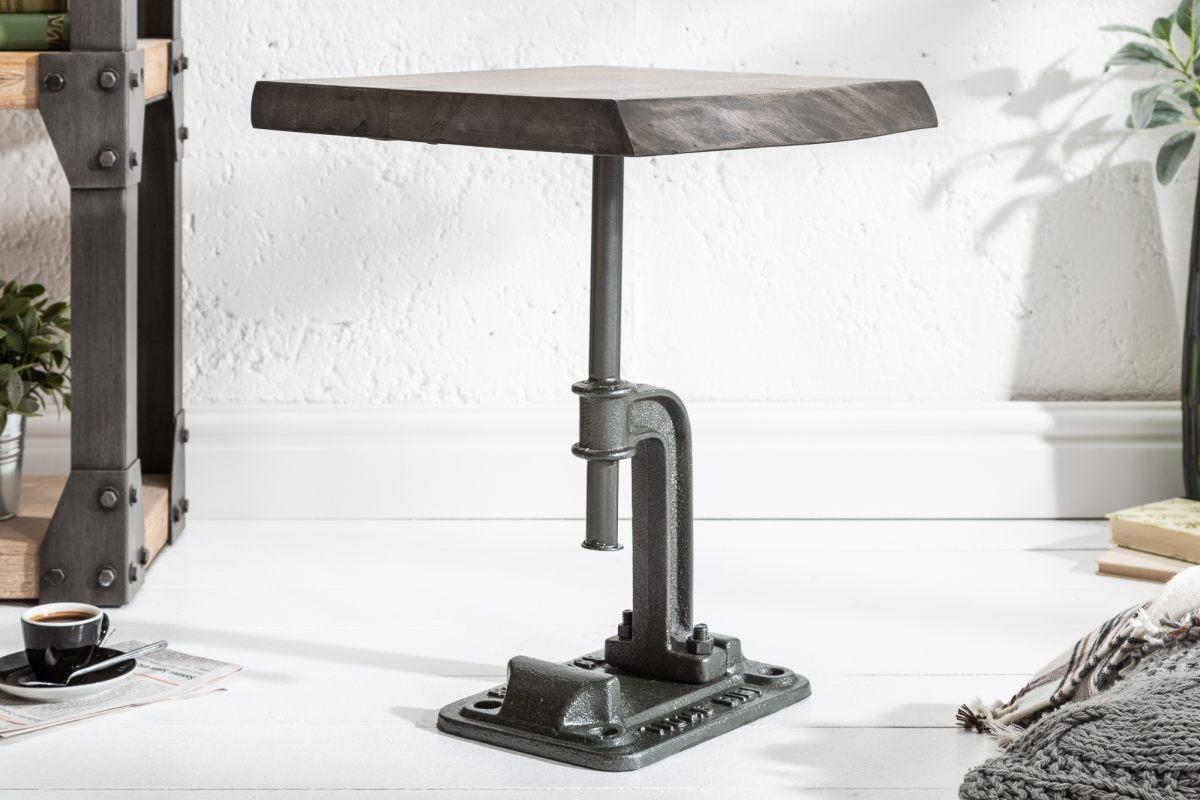 Dizajnový odkladací stolík Unity, 43 cm, sivá akácia