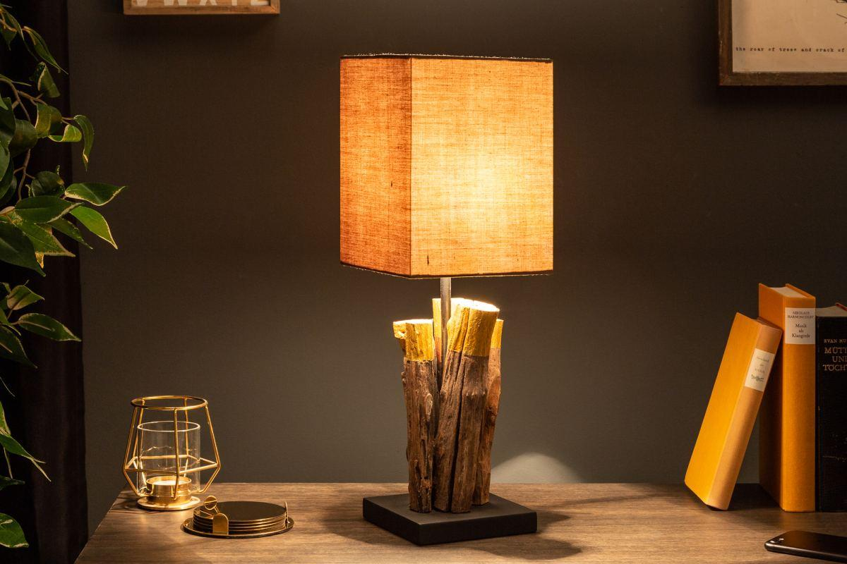 Dizajnová stolná lampa Desmond, 45 cm, zlatá, ironwood