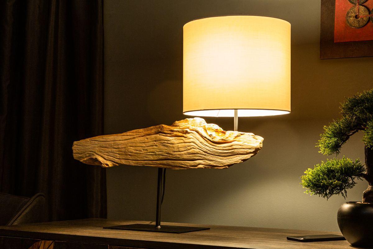 Dizajnová stolná lampa Deandre, 70 cm ironwood
