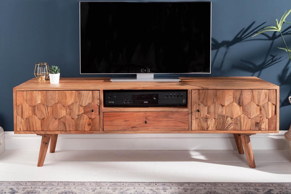 LuxD Dizajnový TV stolík Justice, 140 cm, akácia
