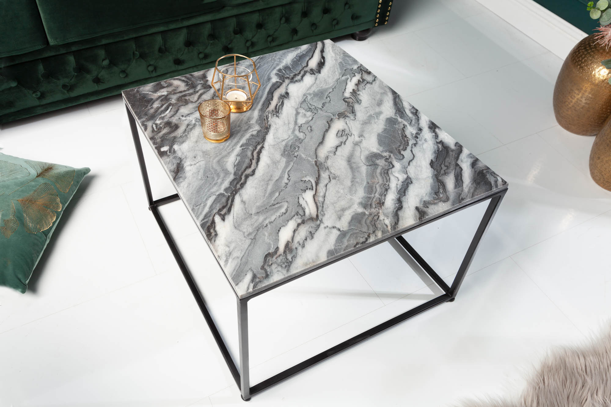 LuxD Dizajnový konferenčný stolík Acantha 50 cm mramor sivý