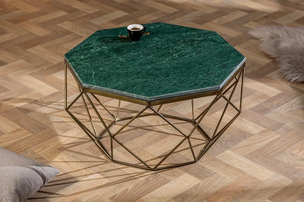 LuxD Dizajnový konferenčný stolík Acantha 70 cm mramor zelený