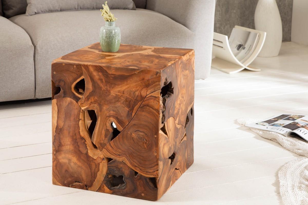 LuxD Dizajnový odkladací stolík Junk 40 cm teak