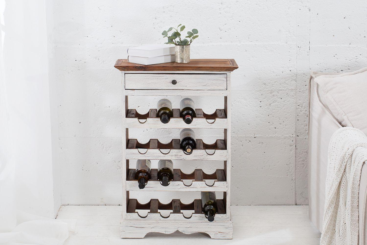 Elegantný regál na víno Provence / biela - mahagónová