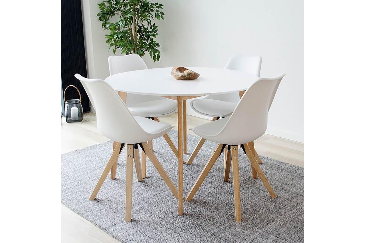 Norddan Okrúhly jedálenský stôl Carmen, prírodný / biely