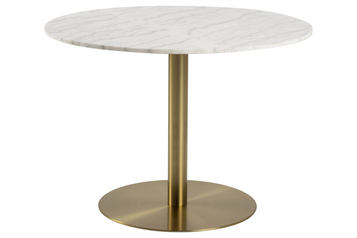 Dkton Okrúhly jedálenský stôl Nechama 105 cm mramor biely