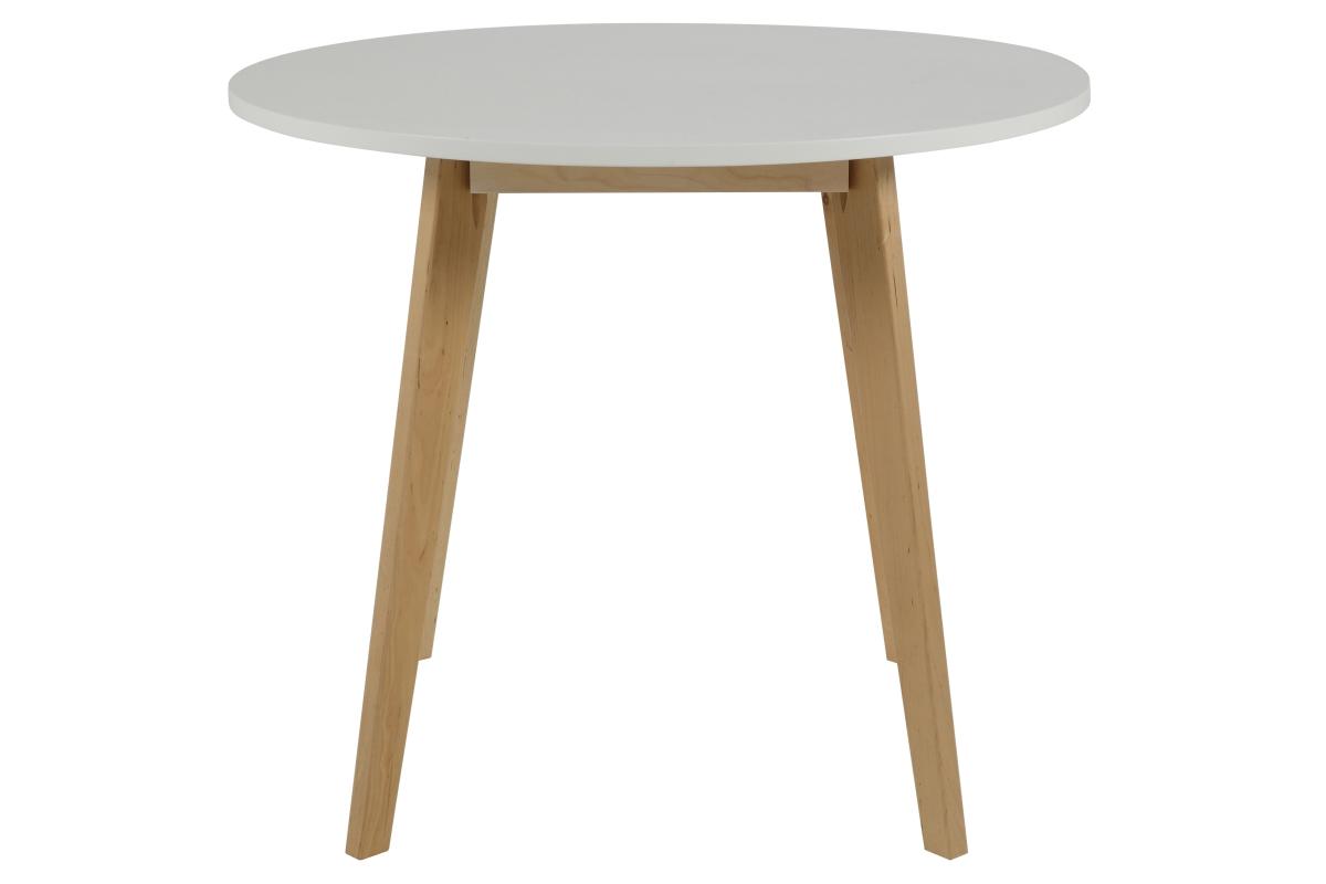 Dkton Okrúhly jedálenský stôl Niecy 90 cm biely lakovaný