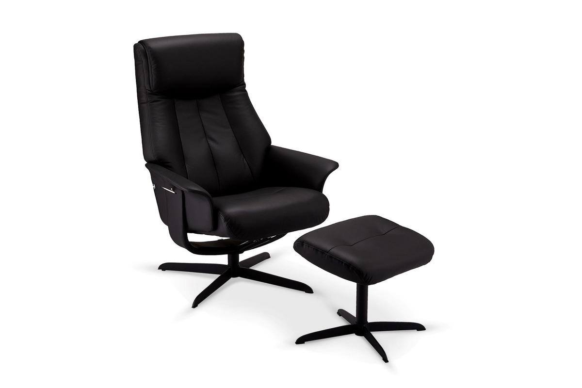 Furnistore Relaxačné kreslo s podnožkou Abdu, čierne