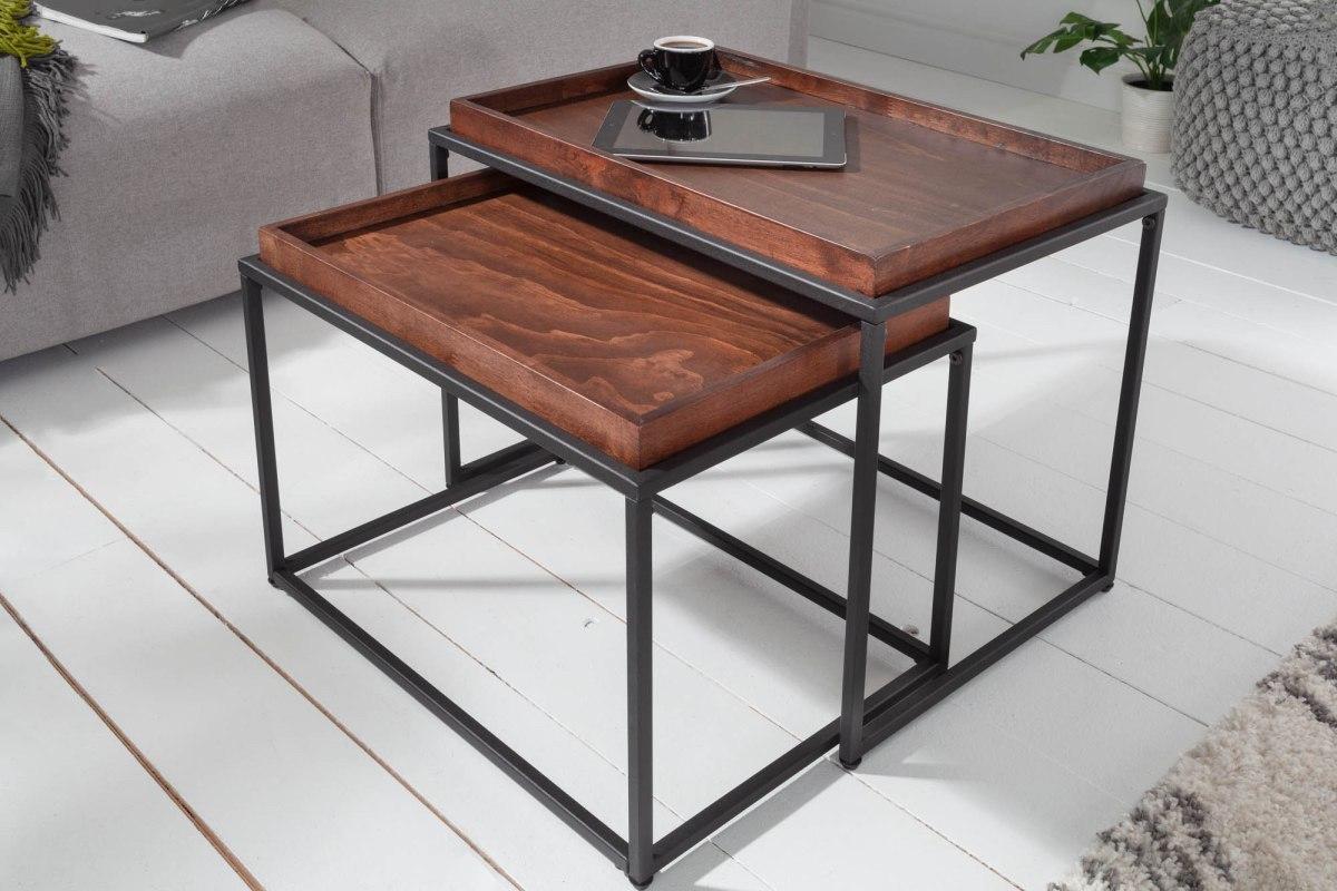 LuxD Set 2 ks odkladacích stolíkov s táckou Factor mokka buk