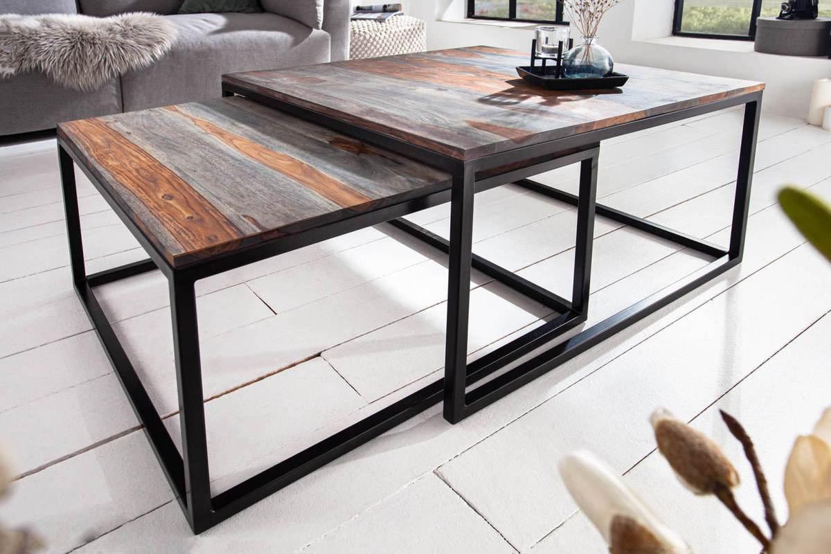 LuxD Set štýlových stolíkov Factor sheesham dymový - 2 ks