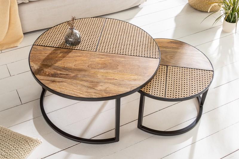 LuxD Set okrúhlych konferenčných stolíkov Trace 2 ks mango